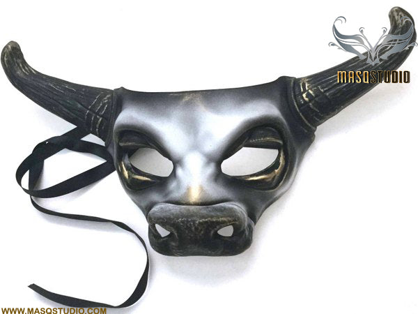 Animal White Gold Masquerade ball Cow mask Bull Ox Mask Wear or Wall Deco