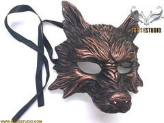 Masquerade ball mask WOLF Mask Wear or Wall Deco Black Copper