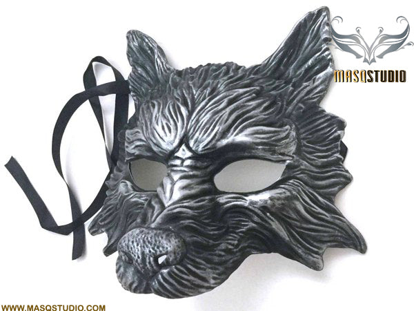 Masquerade ball mask WOLF Mask Wear or Wall Deco Black Silver