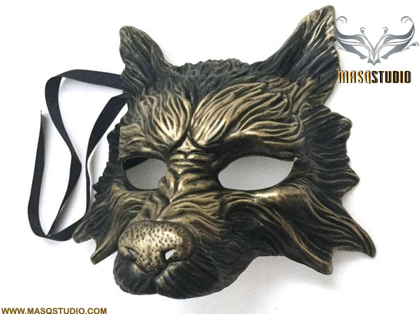 Masquerade ball mask WOLF Mask Wear or Wall Deco Black Gold