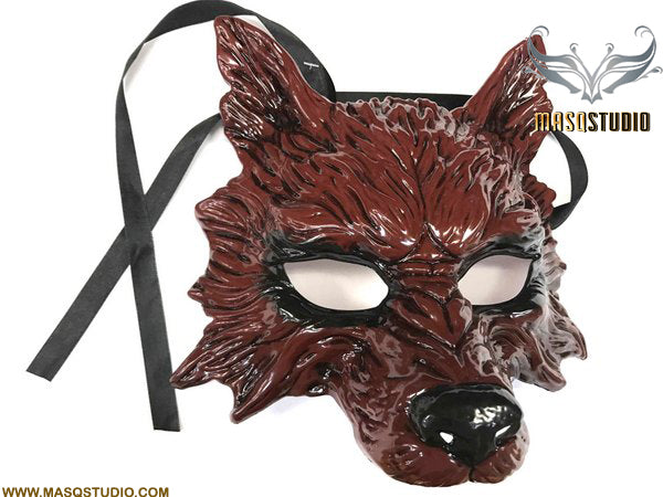 Masquerade ball mask Red WOLF Mask Wear or Wall Deco