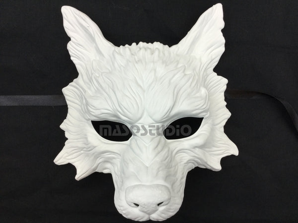 Masquerade ball mask Blank White WOLF Mask Wear or Wall Deco Black Silver
