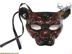 Black Red Masquerade Ball mask Animal Leopard Lion Mask Wear or Wall Deco