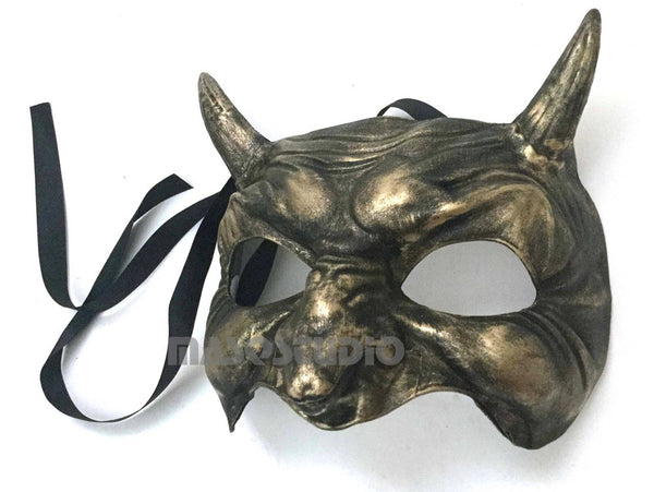Animal Masquerade ball mask Demon Mask Wear or Wall Deco Black Gold
