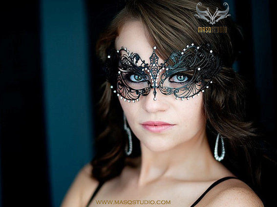 Filigree metal laser cut Black masquerade mask Chloe