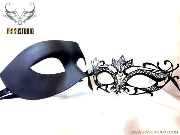 Luxury Venetian Couple Lotto Masquerade Mask Set