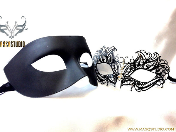 Luxury Venetian Couple Princess Black Masquerade Mask Set
