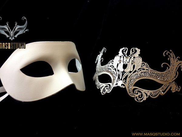 Luxury Venetian Couple White Masquerade Mask Set Zara