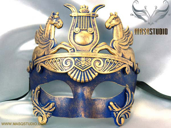 Men's Masquerade Mask Roman Gladiator Thor Blue Masquerade Ball Mask