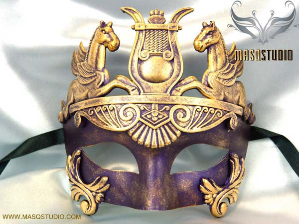 Men's Masquerade Mask Roman Gladiator Thor Purple Masquerade Ball Mask