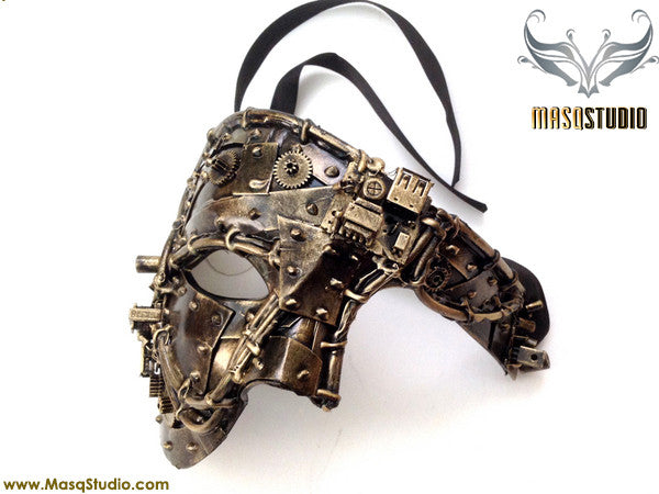 Steampunk Phantom Masquerade Ball Mask Metallic Bronze Gold