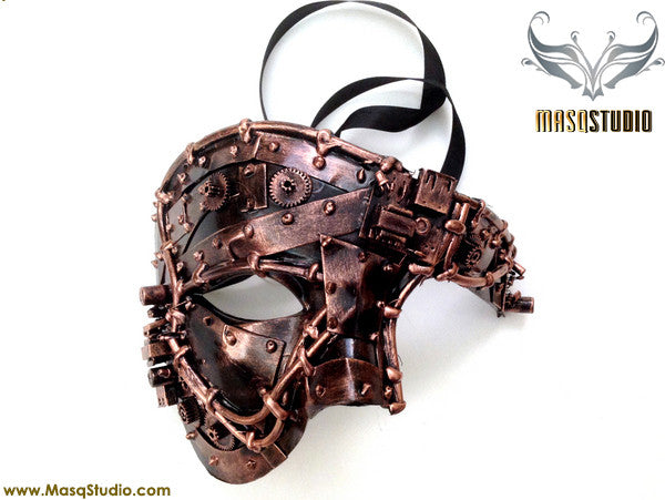 Steampunk Phantom Masquerade Ball Mask Metallic Copper