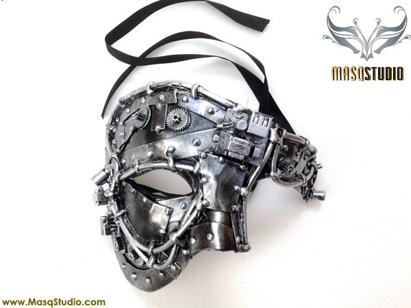 Steampunk Phantom Masquerade Ball Mask Metallic Silver