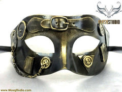 Steampunk Costume Prom Party Masquerade Ball Mask Metallic Bronze