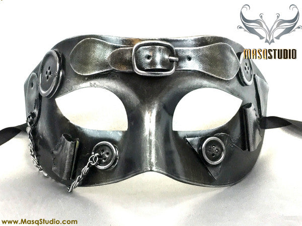 Steampunk Costume Prom Party Masquerade Ball Mask Metallic Silver