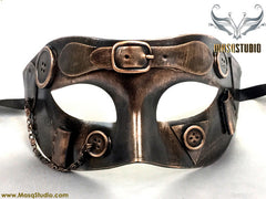 Steampunk Costume Prom Party Masquerade Ball Mask Metallic Copper