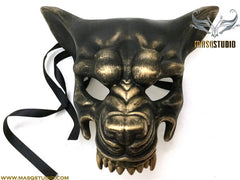 Mens masquerade ball mask Black Bronze Brass Gold WOLF Mask Wear or Wall Deco
