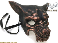 Mens masquerade ball mask Brass Copper WOLF Mask Wear or Wall Deco