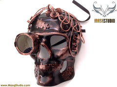 Steampunk Goggle Skeleton Terminator Masquerade Mask Metallic Copper