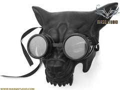 Masquerade ball mask Black WOLF Mask with Goggles Haunted House Party