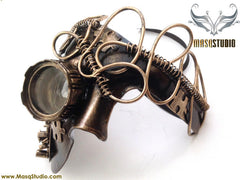 Steampunk Goggle Phantom Masquerade Mask Metallic Bronze Gold