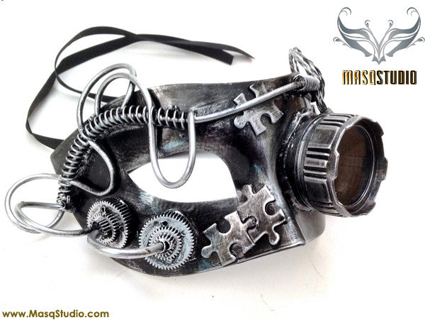 Steampunk Goggle Masquerade Ball Mask Metallic Silver