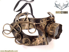 Steampunk Goggle Masquerade Ball Mask Metallic Bronze