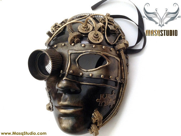 Steampunk Goggle Womens Masquerade Mask Metallic Bronze