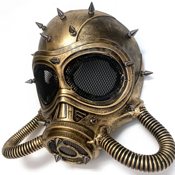 Halloween Costume Cosplay Steampunk Dress up Party Brass Gold Masquerade Gas Mask
