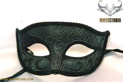 Mens Metalic Black Silver Masquerade ball eye mask
