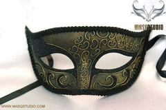Mens Metalic Black Gold Masquerade ball eye mask