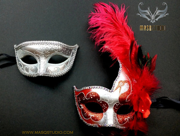 Couple Masquerade mask set Venetian Feathered Red Silver Masquerade Mask Pair