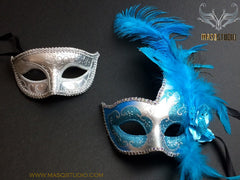 Couple Masquerade mask set Venetian Feathered Turquoise Silver Masquerade Mask Pair