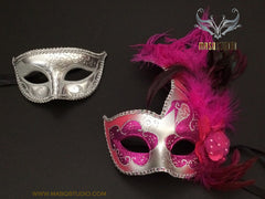 Couple Masquerade mask set Venetian Feathered Hot Pink Silver Masquerade Mask Pair