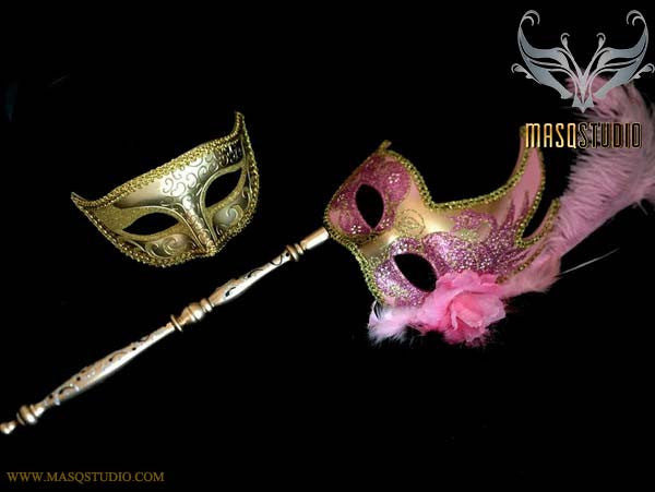 Baby Pink Gold Venetian Couple Feather Masquerade Stick Mask Pair