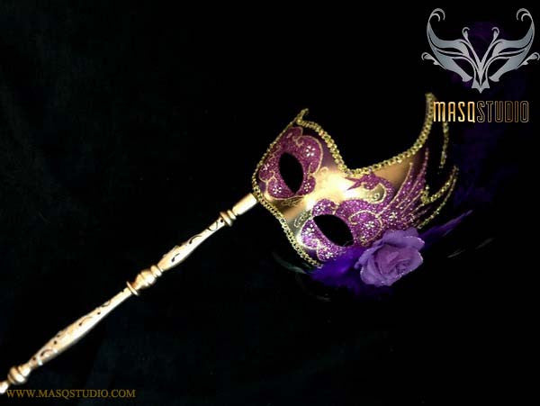 Purple Gold Masquerade Stick Mask Venetian Feather Mask