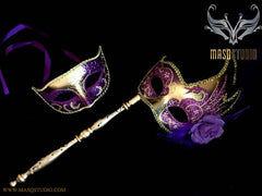 Purple Gold Venetian Couple Feather Masquerade Stick Mask Pair