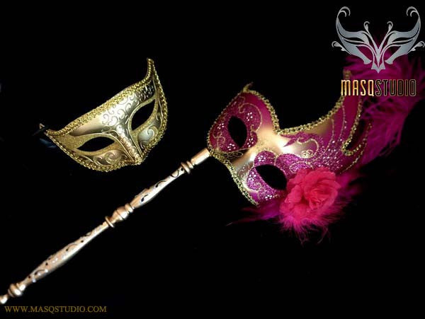 Fuchsia Gold Venetian Couple Feather Masquerade Stick Mask Pair