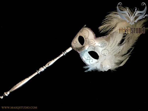 White Silver Masquerade Stick Mask Venetian Feather Mask