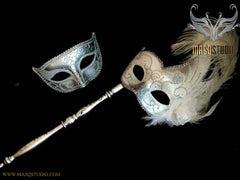 White Silver Venetian Couple Feather Masquerade Stick Mask Pair
