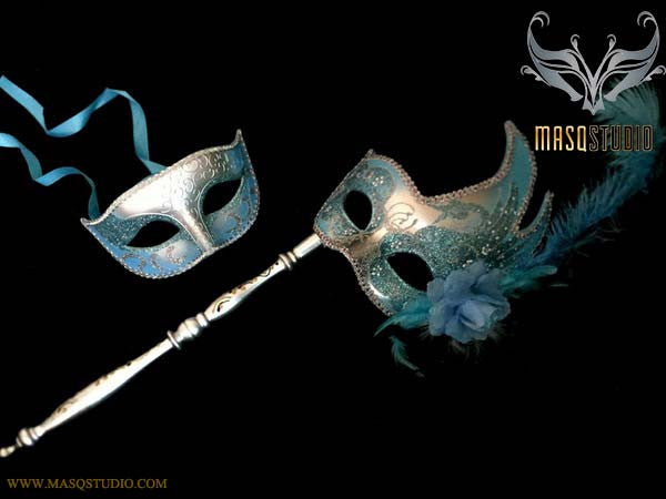Turquoise Silver Venetian Couple Feather Masquerade Stick Mask Pair