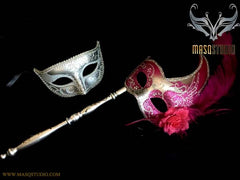 Fuchsia Silver Venetian Couple Feather Masquerade Stick Mask Pair