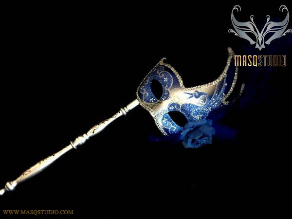 Royal Blue Silver Masquerade Stick Mask Venetian Feather Mask