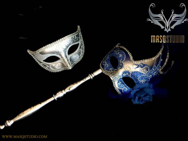 Royal Blue Silver Venetian Couple Feather Masquerade Stick Mask Pair