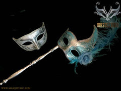 Venetian Couple Feather Masquerade Stick Mask Set Silver Turquoise