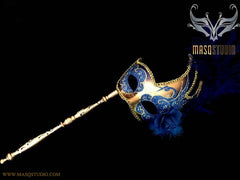 Royal Blue Gold Masquerade Stick Mask Venetian Feather Mask