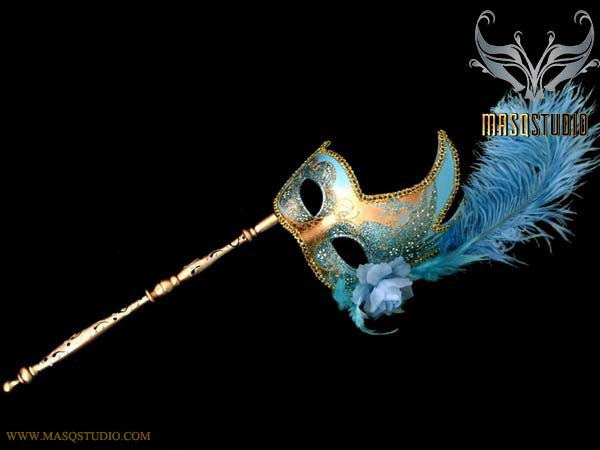 Turquoise Gold Masquerade Stick Mask Venetian Feather Mask