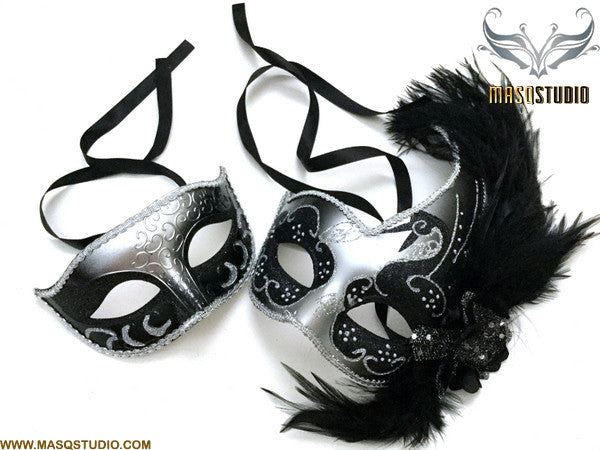 Venetian Silver Black Masquerade Ball Mask with Feather Pair