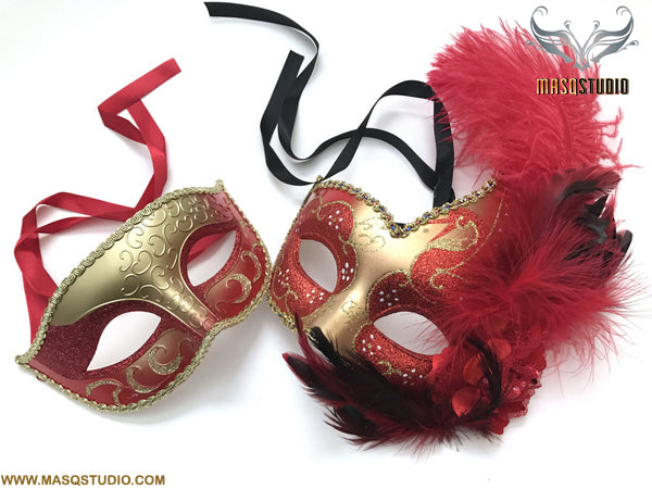 Venetian Gold Red Masquerade Ball Mask Pair Costume Dress up Carnival