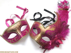 Venetian Gold Fuchsia Pink Masquerade Ball Mask Pair Costume Dress up Carnival
